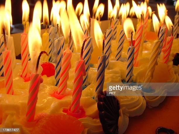 キャンドルライトの birthdaycake