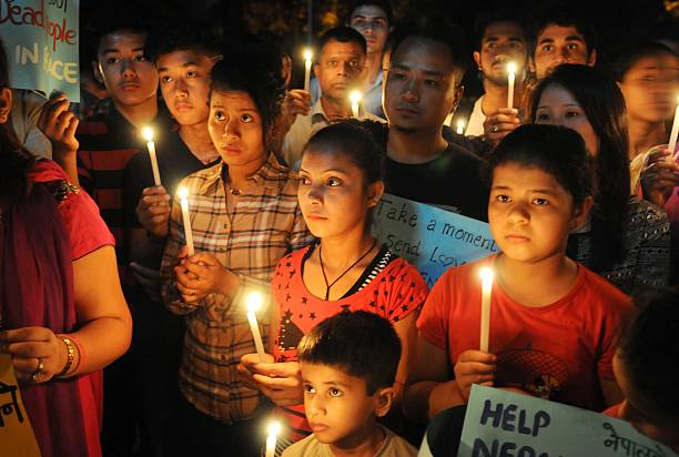 Candle Light procession being taken out to seek help for victims of earthquake in Nepal by Nepalese Students Community members and other students of..