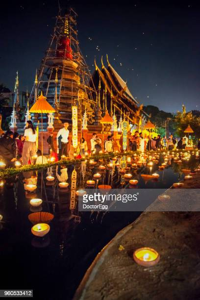 Candle Light Up Festival in Special Buddhist Religious Holiday at Pantoa Temple, Chiangmai, Thailand