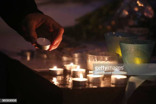 TORONTO ON APRIL 24 A candle light vigil is held at Olive Square near Yonge and Finch Streets for the 10 people that were killed and the 15 injured...