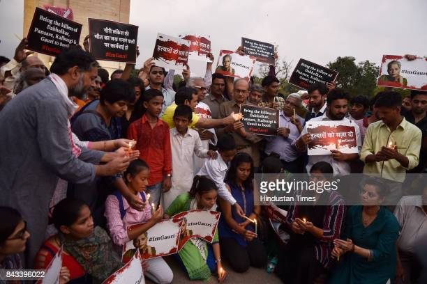 A candle light vigil was organised for the journalist Gauri Lankesh who was murdered in Bangalore on Tuesday night on September 6 2017 in New Delhi...