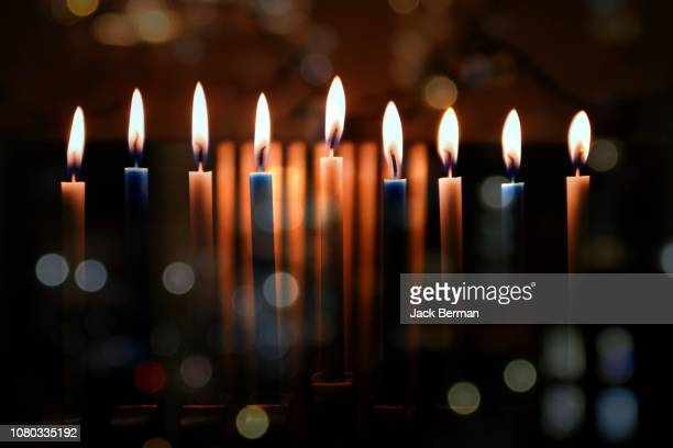 candle lights - hanukkah stock pictures, royalty-free photos & images