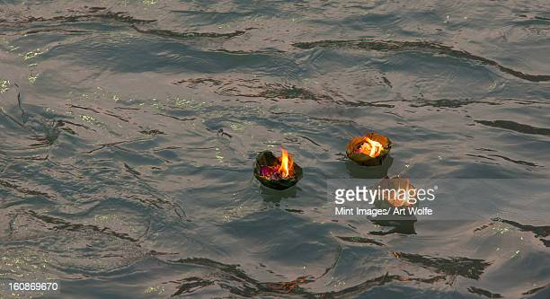 candle offering at kumbh mela, haridwar, india - haridwar stock pictures, royalty-free photos & images