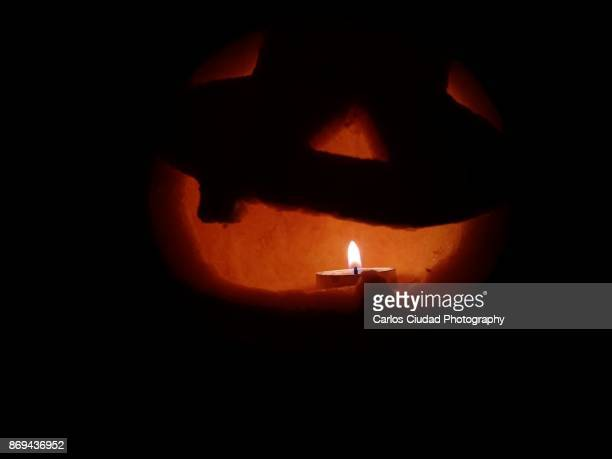 candle shining inside jack o lantern in the darkness - ugly pumpkins stock photos and pictures