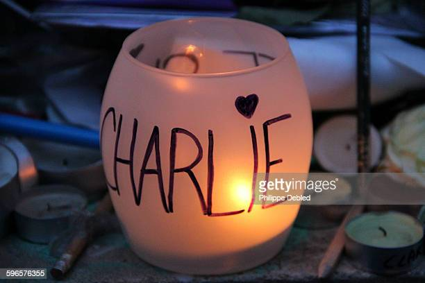 Candle tribute to Charlie Hebdo, Paris, France