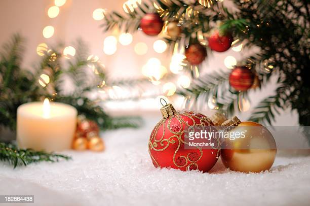 candle with christmas balls and pine tree - fake snow stock pictures, royalty-free photos & images