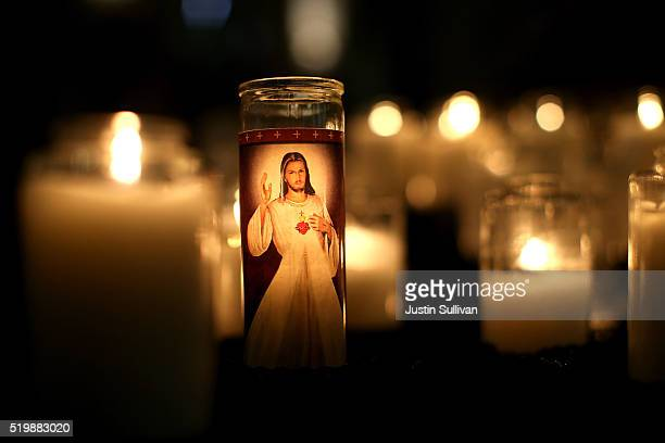 A candle with the image of Jesus Christ is displayed inside St Patrick Church on April 8 2016 in San Francisco California Pope Francis released a 256...