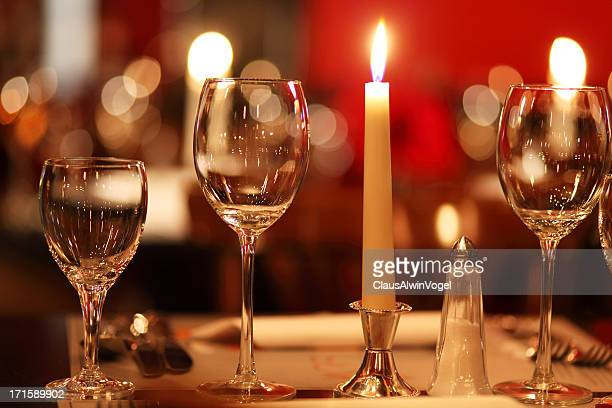 candlelight in gourmet restaurant (close up)