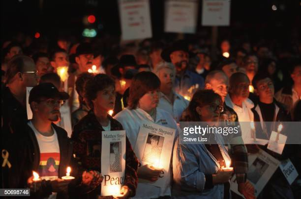 Candlelight vigil for Matthew Shepard openly gay Univ of Wyoming student who died of his wounds after savage assault allegedly by Aaron McKinney...