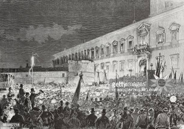 Candlelight vigil in front of the Quirinale for the return of King Umberto I and Margherita of Savoy in Rome November 24 Lazio Italy drawing by Dante...