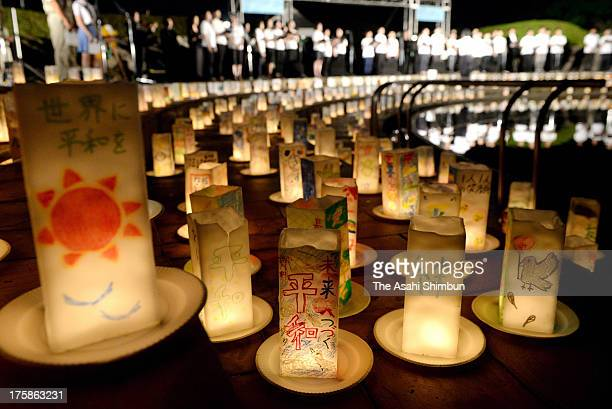 Candlelit Paper Lanterns are placed a day before the Peace Memorial at the Peace Park on August 8 2013 in Nagasaki Japan The world's second atomic...