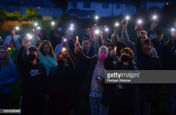 Candlelit vigil takes place at North Down Crescent Park on August 13, 2021 in Plymouth, England. Police were called to a serious firearms incident in...