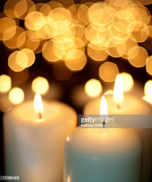 Candles and Christmas lights