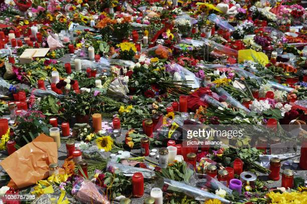 Candles and flowers lay outside the Olympia Einkaufszentrum in MunichGermany 24 July 2016 A fatal shooting was carried out by an 18yearold...