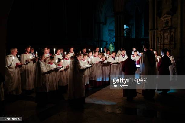 Candles are carried by the Minster Choir during the Advent Procession at York Minster on December 02 2018 in York England The candlelit service...