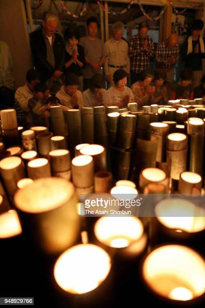 Candles are lit ahead of the second anniversary of the Kumamoto Earthquakes on April 14 2018 in Mashiki Kumamoto Japan The first of the two big...