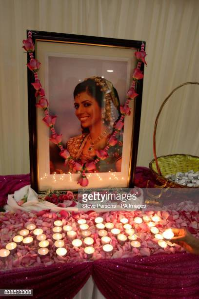 Candles are lit in memory of Anni Dewani at the Shree Kadwa Patidar Samaj in Harrow to mark her murder one year ago whilst on honeymoon in Cape Town...