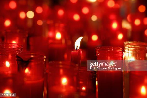 Candles are placed for the victims of Madrid train bombings at El Pozo train station during the 10th anniversary on March 11 2014 in Madrid Spain The...
