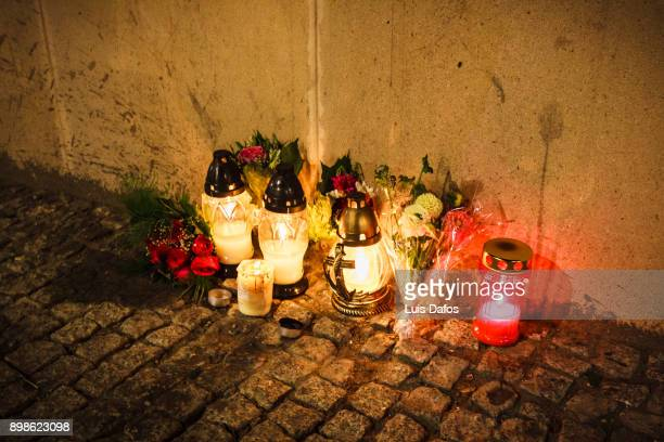 Candles at the street on Warsaw Uprising Remembrance Day