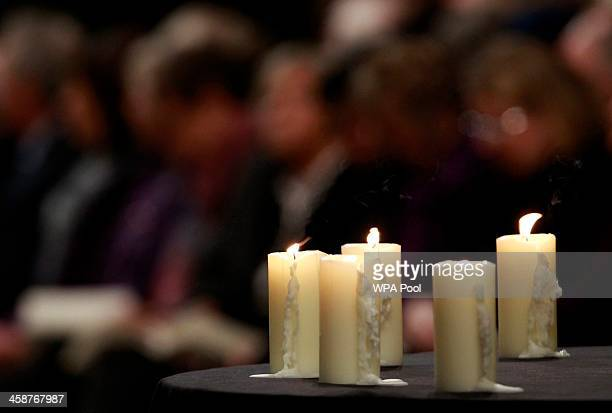 Candles burn for the victims of the Lockerbie bombing during a service of remembrance to mark the 25th anniversary of the Lockerbie air disaster at...