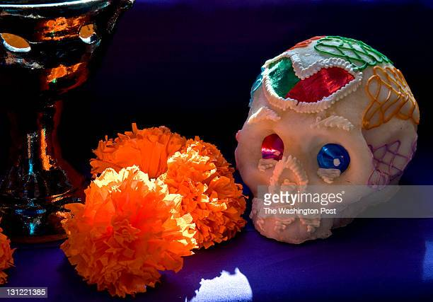 Candles flowers and elaborately decorated sugar skulls adorn the altar for the Day of the Dead at the Mexican Cultural Institute Tuesday November 2...