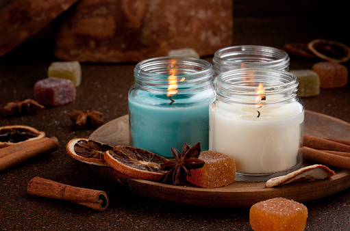 Candles for cold weather.  Cosy winter evening or winter holidays celebration 1040748310
