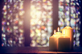 Candles in a church background