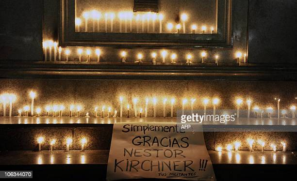 Candles in front of the Casa Rosada presidential palace in Buenos Aires following the death of former Argentine President Nestor Kirchner on October...