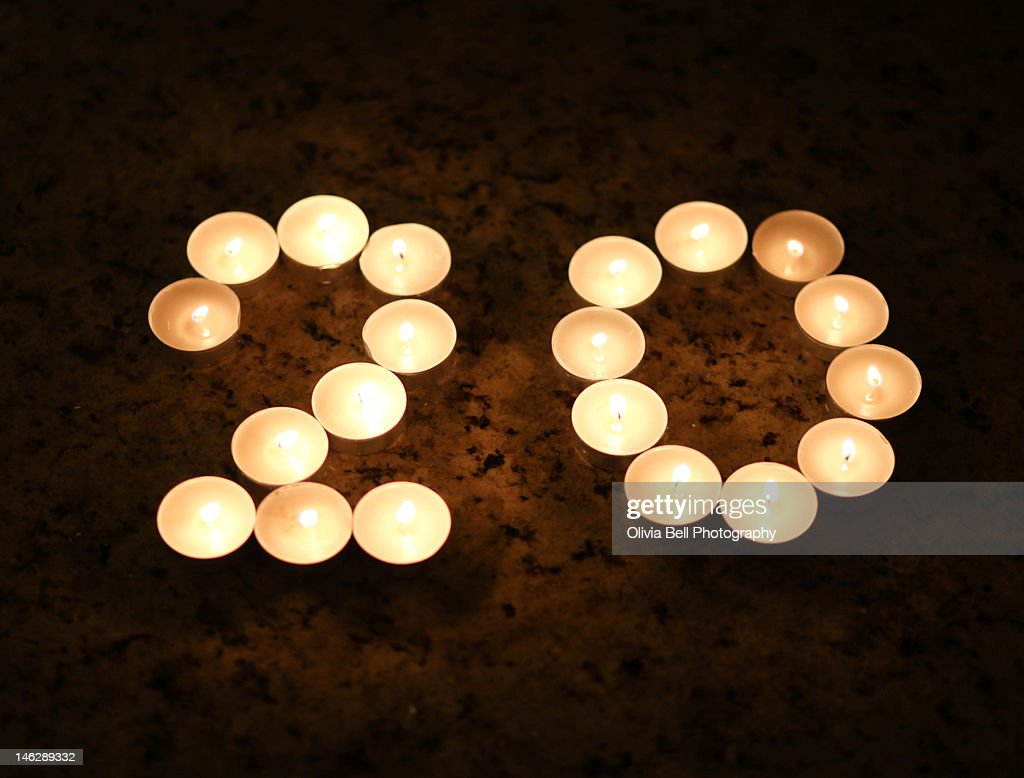 Candles in Shape of Number 20 : Stockfoto