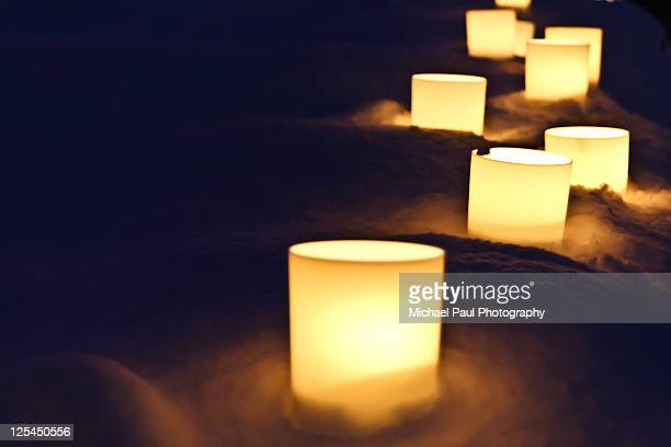 candles in snow - hirosaki stock pictures, royalty-free photos & images