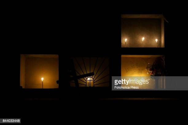 Candles lighting in the tombs Tiempos Místicos a collective of artists from the outskirts of Lima makes an overnight Shamanism performance at the...