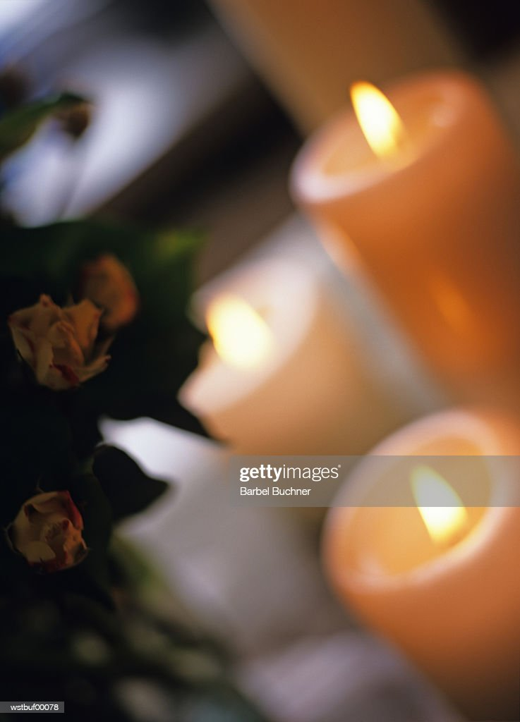 Candles lit, close up : Foto de stock