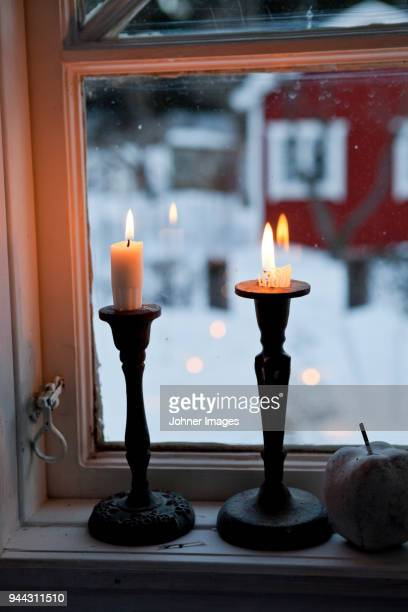 Candles on window sill