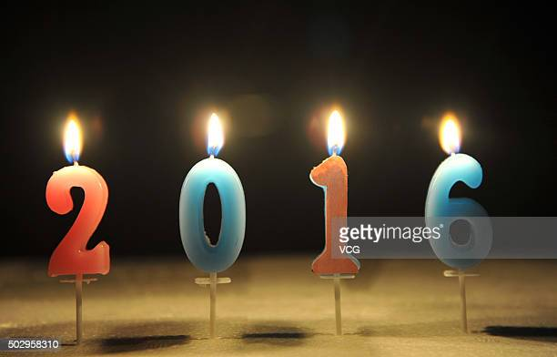 Candles reading 2016 are lit for the upcoming new year on December 30 2015 in Hangzhou Zhejiang Province of China China prepares countdown event on...