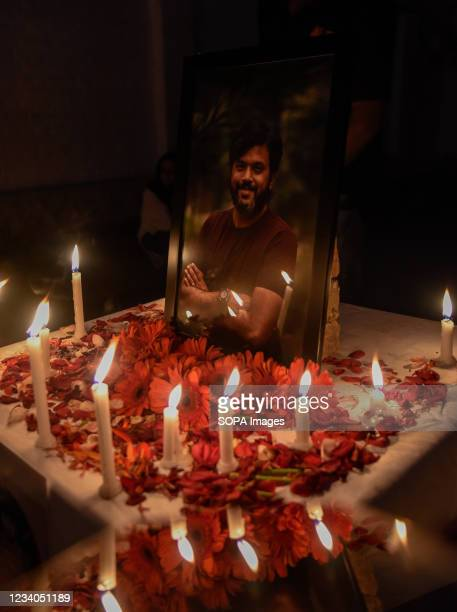 Candles seen lit in front of a Portrait of Danish Siddiqui during a candle light vigil in Srinagar. Reuters journalist Danish Siddiqui was killed on...