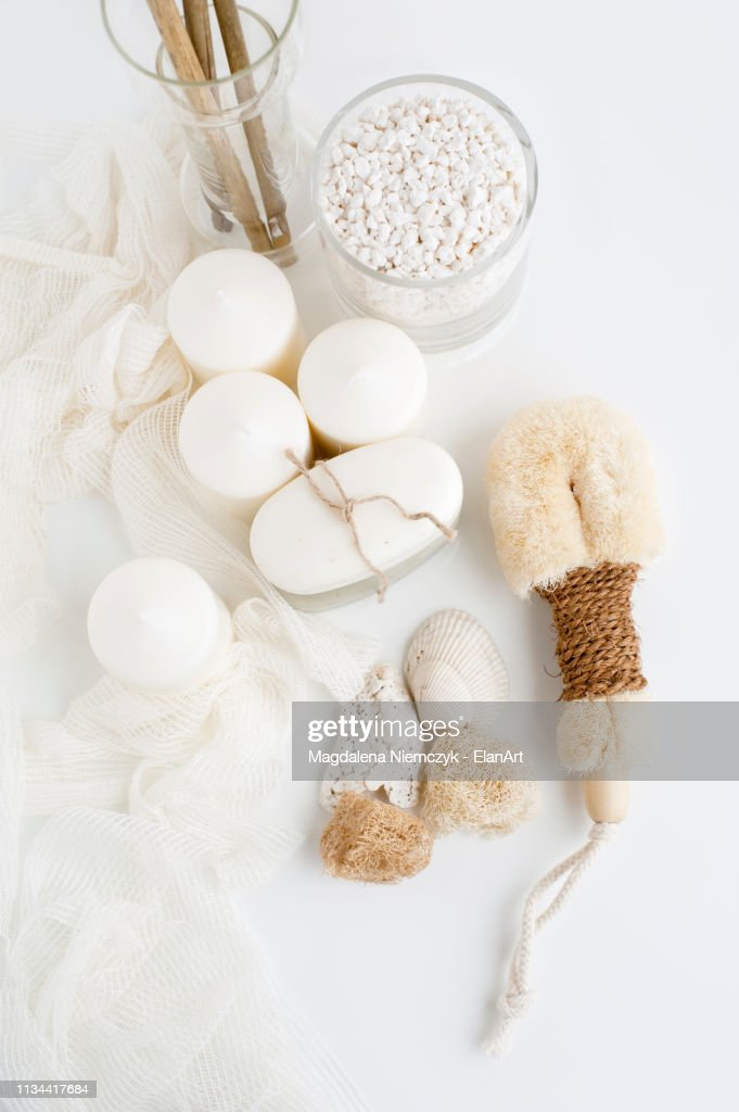 Candles, soap and loofah : Stock Photo