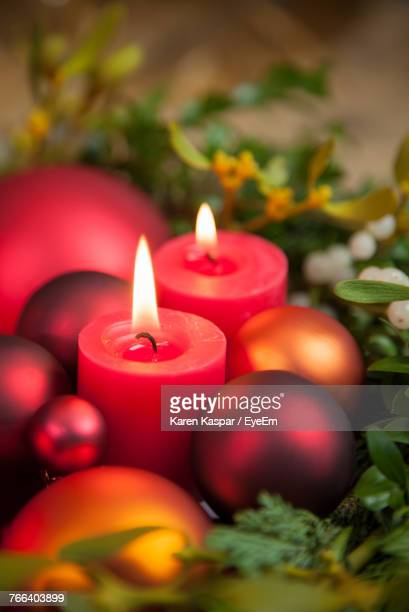 Candles With Wreath At Home During Christmas