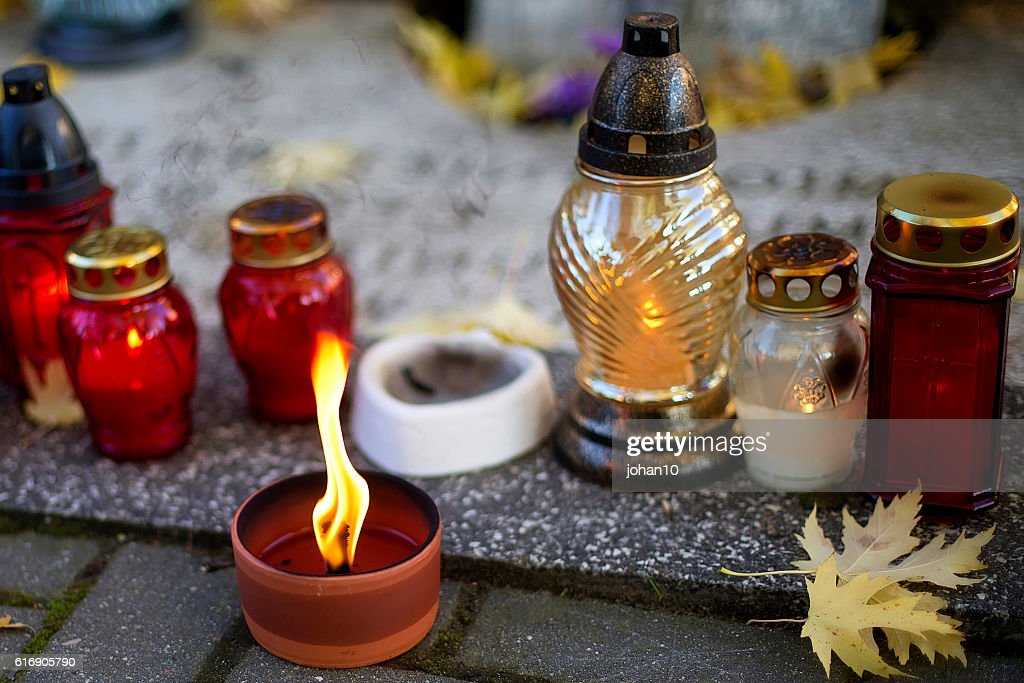 Candless in the cemetery : Stock Photo