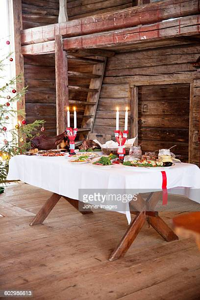 Candlestick holders on Christmas table