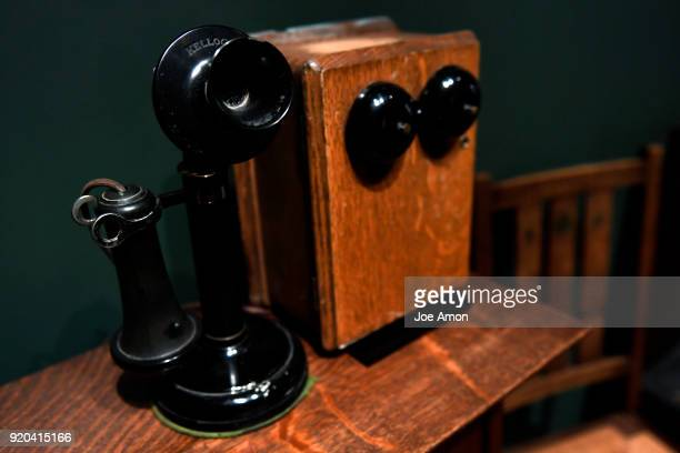 Candlestick Phone with Wooden Bell Box 19011908 on display in the Arts Crafts Gallery at the Kirkland Museum of Fine Decorative Art that is slated to...