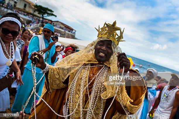 Candomblé priest dances during the ritual ceremony in honor to Yemanjá the goddess of the sea in Salvador Bahia Brazil 2 February 2012 Yemanjá...
