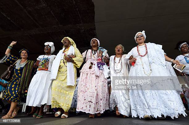 Candomble priestresses take part in the Black Women March against gender violence in Brasilia on November 18 2015 According to the organizers of some...