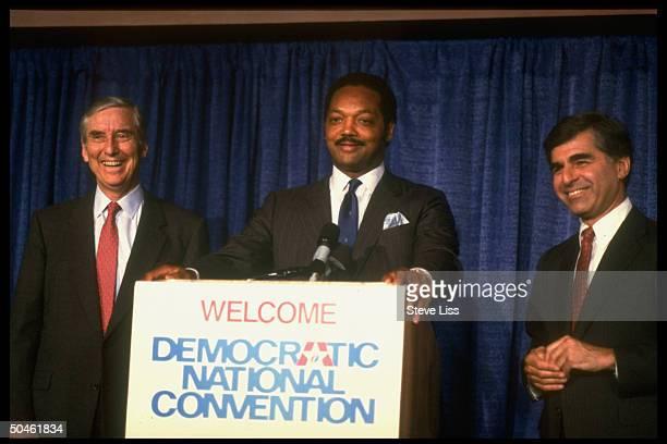 Cands Gov Michael Dukakis Rev Jesse Jackson Sen Lloyd Bentsen holding press conf during Dem Natl Convention