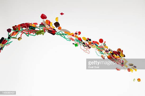 Candy against a white background