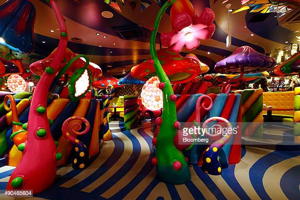 Candy Booths sit in the Mushroom Disco room at the Kawaii Monster Cafe operated by Diamond Dining Co in the Harajuku area of Tokyo Japan on Thursday...