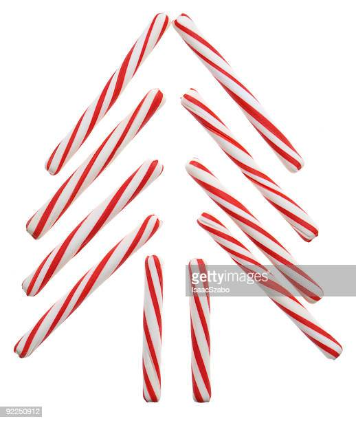 Candy cane sticks in the shape of a Christmas tree