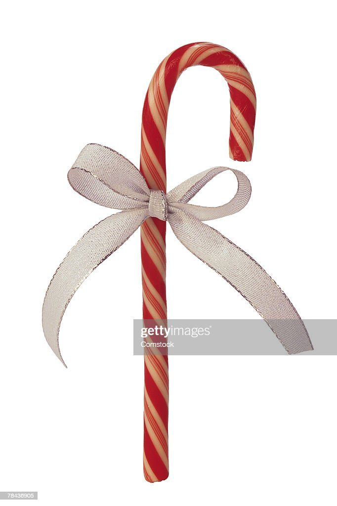 Candy cane with bow : Stockfoto