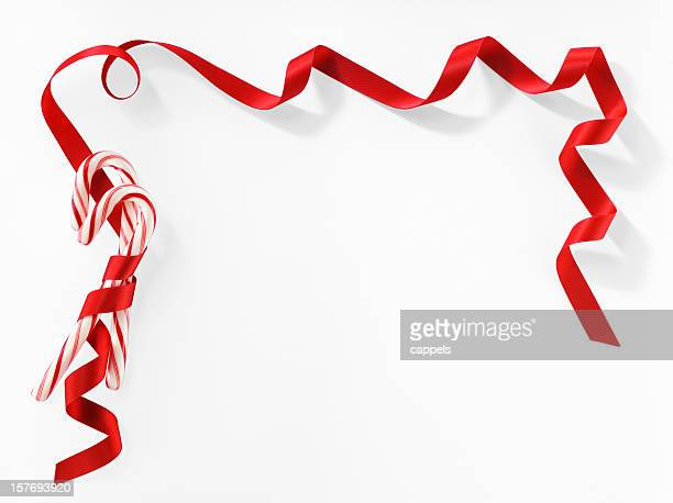 Candy Canes Greeting Card On White Background.Color Image