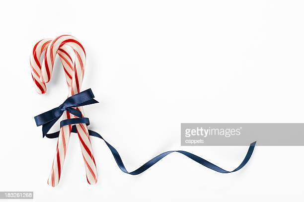 Candy Canes With A Blue Ribbon.Color Image
