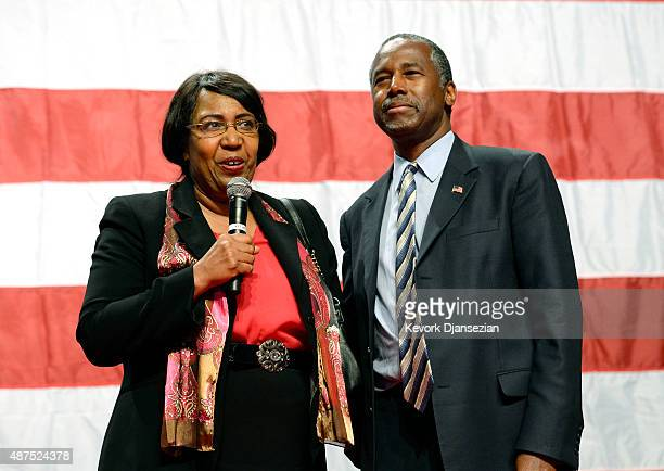 Candy Carson and Republican presidential candidate Ben Carson speak during a campaign rally at the Anaheim Convention Center September 9 2015 in...